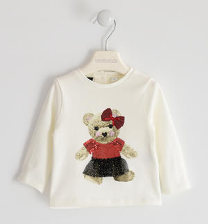 Round neck with teddy bear print and tulle application CREAM