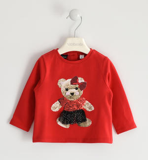 Round neck with teddy bear print and tulle application RED