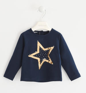Crew-neck t-shirt with reversible sequins star  BLUE