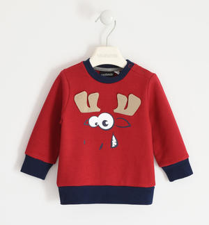 Brushed fleece round neck with moose print RED