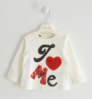 Jersey round neck with faux fur heart