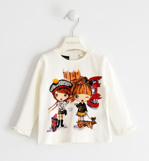 Jersey round neck with little girls print