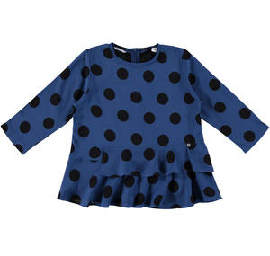 Blouse-style crew neck with dotty print BLUE