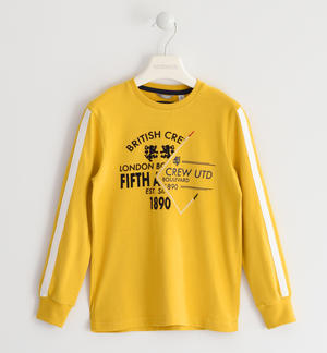 Crew neck sweater made of 100% cotton jersey, British theme YELLOW
