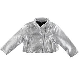 Short faux leather jacket for girls GREY