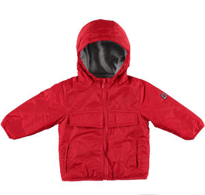 Padded autumn jacket lined in contrasting fleece  RED