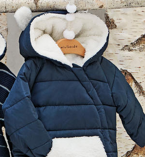 Blue jacket for baby boy lined with faux fur BLUE