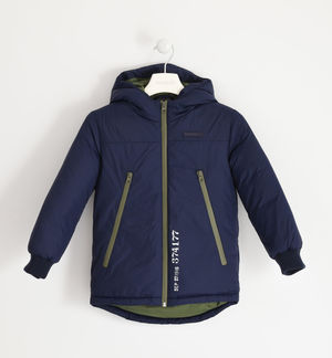 Jacket with hood and technical zip BLUE