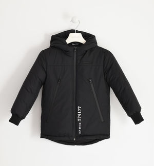 Jacket with hood and technical zip BLACK