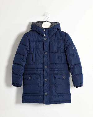 Jacket with lined hood in striped interlock   BLUE