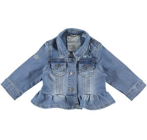 Cotton blend denim jacket for baby girl with frill BLUE
