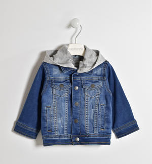 Jeans jacket with detachable jersey hood BLUE
