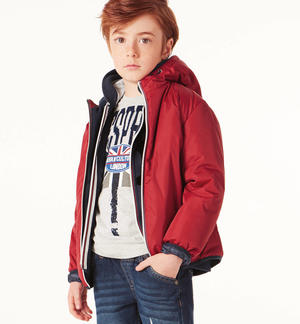 Fleece lined jacket padded with wadding RED