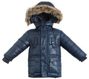 Cotton-padded jacket with hood and faux fur BLUE