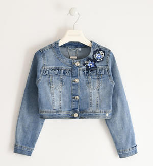 Denim jacket with flower
