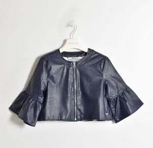 Chanel cut faux leatherjacket for girl BLUE