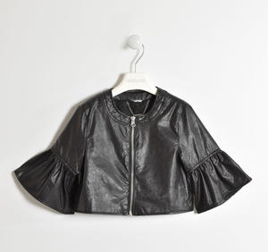 Chanel cut faux leatherjacket for girl BLACK