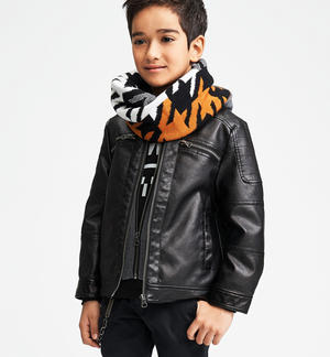 Faux leather jacket with detachable hood and double jersey opening