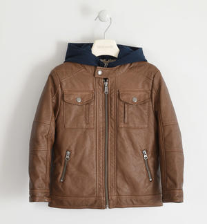 Faux leather jacket with detachable hood for boy BROWN