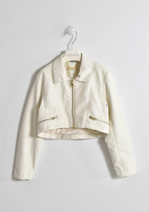 Little girl faux leather jacket with golden trim and zip WHITE