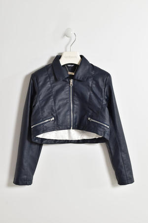Little girl faux leather jacket with golden trim and zip BLUE