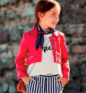 Little girl faux leather jacket with golden trim and zip RED