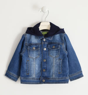 Denim-effect knitted jacket with hood BLUE