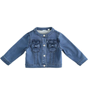 Denim-effect stretch cotton blend baby girl jacket BLUE