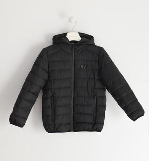 Nylon padded jacket with wadding BLACK