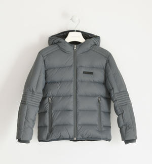Goose down jacket with hood for boy GREY