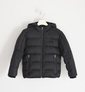 Goose down jacket with hood for boy BLACK