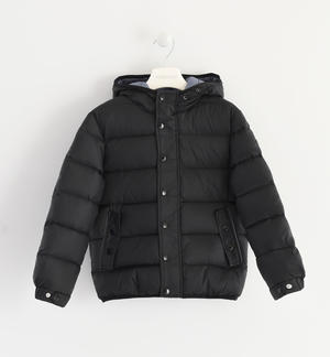 Goose down jacket with horizontal quilt BLACK