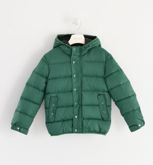 Goose down jacket with horizontal quilt GREEN