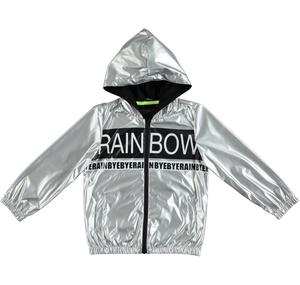 Jacket in special metallic effect nylon fabric GREY