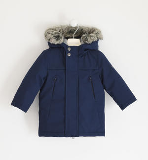 Fleece-lined technical fabric jacket BLUE