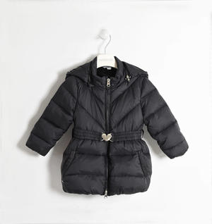 Real goose down jacket with detachable hood BLACK