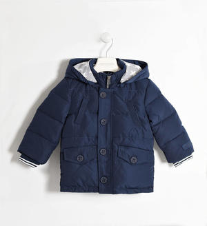 Real goose down padded jacket with cuffs BLUE