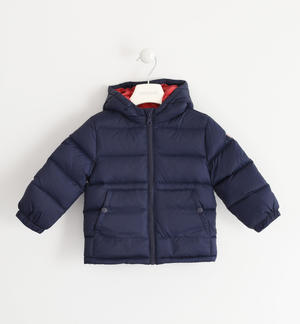 Real goose down jacket with contrasting color lining