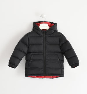 Real goose down jacket with contrasting color lining BLACK