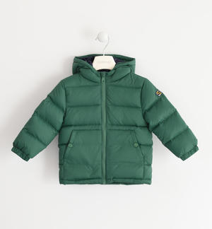 Real goose down jacket with contrasting color lining GREEN