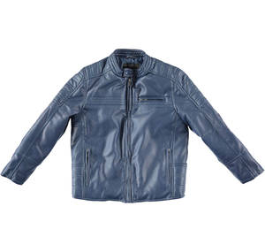 Biker-style faux leather jacket BLUE