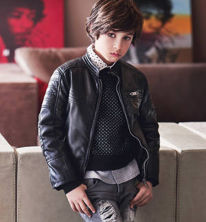 Biker-style faux leather jacket BLACK