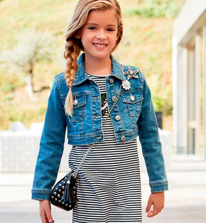 Little girl stretch jeans jacket with classic cut