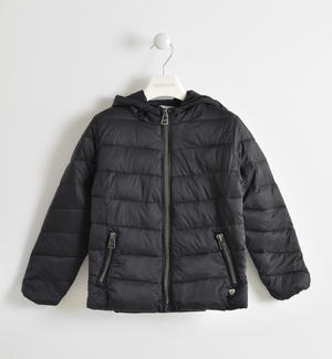 Down jacket with hood BLACK