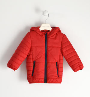 Jacket 100 grams model with hood and zip in contrast RED