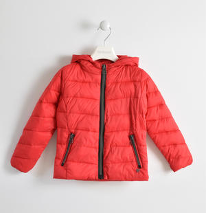 Down jacket with hood RED