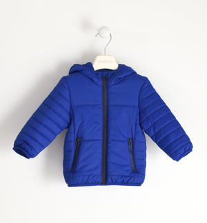 Jacket 100 grams model with hood and zip in contrast BLUE