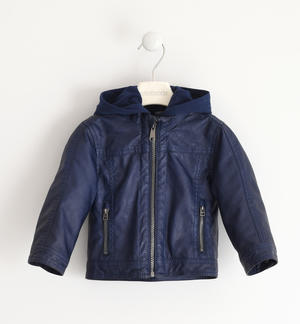 Eco leather jacket with detachable hood
