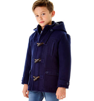 Montgomery style hooded jacket  BLUE