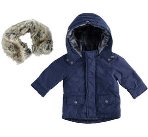 Carry-over parka with full zip opening and flap with buttons BLUE